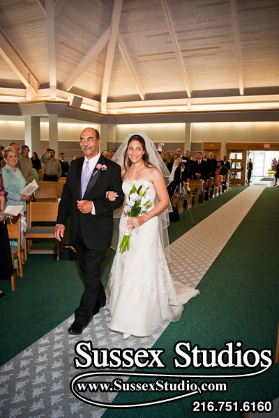 Jennifer & Dad walking down aisle on her wedding
